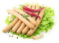 Close up of sausage and fresh vegetables Royalty Free Stock Photo