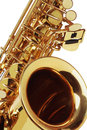Close up of saxophone on white background Stock Images