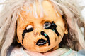 Close up of scary baby doll of halloween Royalty Free Stock Photo
