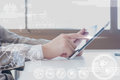 Close up scene of Business man using tablet with digital layer Royalty Free Stock Photo