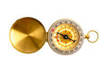 Close up selective focus golden compass isolated on white backg background with clipping path Stock Photos