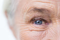 Close up of senior woman face and eye Royalty Free Stock Photo