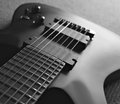 Close up of seven string guitar black and white Stock Images