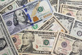Close up of several dollar bills chaotically aligned Royalty Free Stock Photo