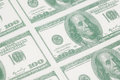 Close-up of a sheet of 100 dollar bills Royalty Free Stock Photo