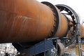 close look at a dry-process rotary cement kiln Royalty Free Stock Photo