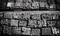 Close up shot of chinese typescript letters collection old wooden Stock Images