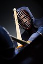 Close up shot of competition of two kendo fighters Royalty Free Stock Image