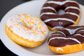 Close-up shot of delicious doughnuts Royalty Free Stock Images