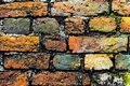 A close-up shot of the old rough brick masonry wall lined Royalty Free Stock Photo