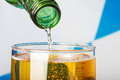 Close up shot of pouring beer into the glas Royalty Free Stock Photo
