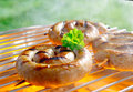 Close up shot of rolled sausage on the grilling pan Royalty Free Stock Photos