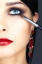 Close-up shot of woman eye makeup Royalty Free Stock Photo