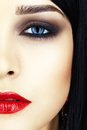 Close up shot of woman face young brunette with evening makeup Stock Images
