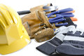 Close up shot of yellow hat gloves and tool belt Royalty Free Stock Photography