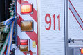 Close up 911 sign stopping on car Royalty Free Stock Photo