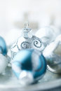 Close up of silver and blue christmas balls shallow dof Stock Photos