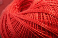 Close up of skein of red thread Royalty Free Stock Photo