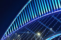Close up of skew bridge illuminated by led lights is at night Royalty Free Stock Photo