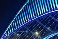 Close up of skew bridge illuminated by led lights is at night Royalty Free Stock Photo