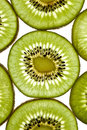Close up of sliced pieces of kiwifruit Royalty Free Stock Photos