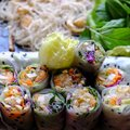 Sliced vegan rice paper rolls and Vietnamese spring roll ingredient Royalty Free Stock Photo