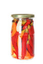 Close up of slices of pickled preserved red hot chili pepper in Royalty Free Stock Photo