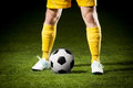 Close up soccer ball feet soccer player Stock Images