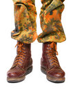 Close up of soldier legs. Royalty Free Stock Images