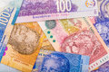 Close up of south african currency the rand isolated on white background Stock Image