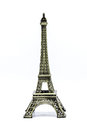 Close up Souvenir Model of the Eiffel Tower on White Background Royalty Free Stock Photo