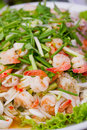 Close up of spicy glass noodles salad with seafood Stock Photos