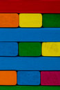Close up square shape colorful background. Wooden color toy bloc