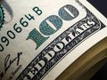 Close up of stack of 100 dollar bills Royalty Free Stock Photo