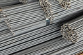 Close up stack of steel bar or steel reinforcement bar Royalty Free Stock Photo