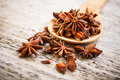 Close up star anise wooden board Royalty Free Stock Photos