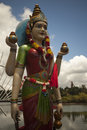 Close up of a statue of hindu goddess gayathri at grand bassin in mauritius closeup Stock Images