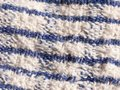 Close up of striped blue and white table cloth fabric Royalty Free Stock Photo