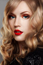 Close up studio portrait of beautiful woman with bright make up red lips Royalty Free Stock Photography