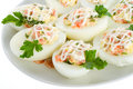 Close-up stuffed eggs with red fish Stock Photo