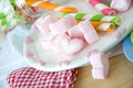 Close up sweet heart marshmallow plate Royalty Free Stock Image