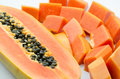 Close up of sweet papaya on white background Stock Photo