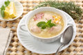 Close up of a tasty and hot chicken soup dish Stock Photography