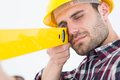 Close-up of technician using spirit level Royalty Free Stock Photo