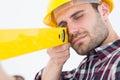 Close-up of technician using spirit level Royalty Free Stock Photo
