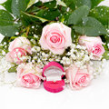 Close-up of tender pink roses, diamond ring Stock Photography