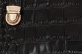 Close-up texture of black handbag from genuine leather with embossed under the skin of reptile, gold lock. Concept of