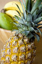 Close up texture ripe pineapple tropical fruits background Royalty Free Stock Photos