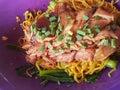 Close-up,Thai food style:& x22;Ba Mhee Kha Moo& x22; Egg noodle Royalty Free Stock Photo
