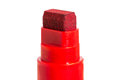 Close up of a tip of a red marker felt tip pen isolated on white background Stock Photo